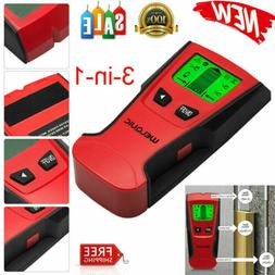 WELQUIC 3 In 1 LCD Stud Center Finder Metal AC Live Wire Det